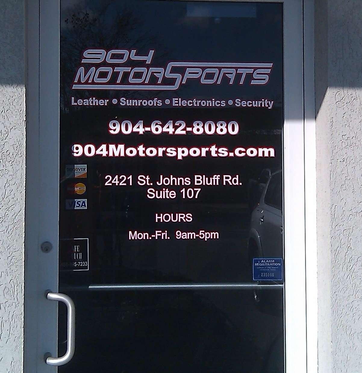 904 Motorsports Door Logo and Hours